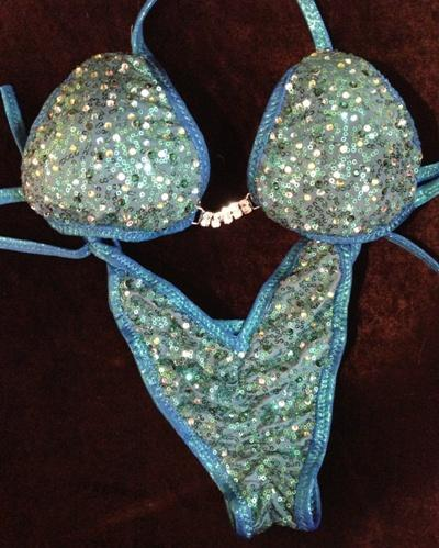 Blue/green sequin bikini w/stones